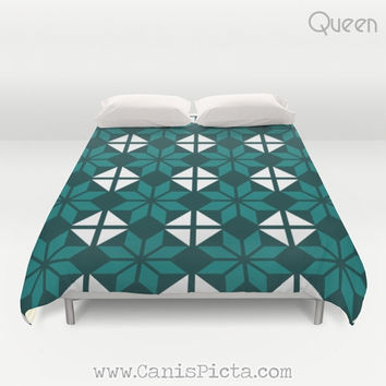 Duvet Cover Twin Full Queen King size Mint Aqua Amethyst Turquoise Teal Sea Ocean Modern Green Blue Aquamarine Granny Tile Square Geometric