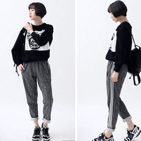 Gray Drawstring Elastic Waist  Striped Sides Harem Pants