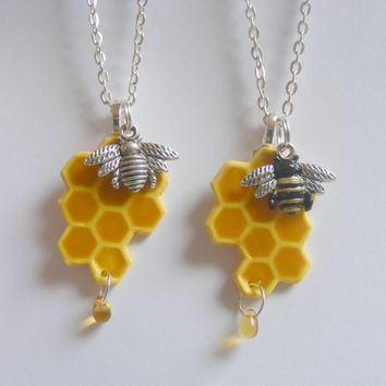 Honey Bee Necklace Honeycomb Necklace Pendant - Miniature Food Jewelry
