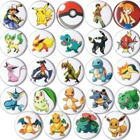 "Set of 24 Pokemon 1"" pins/buttons/badges"