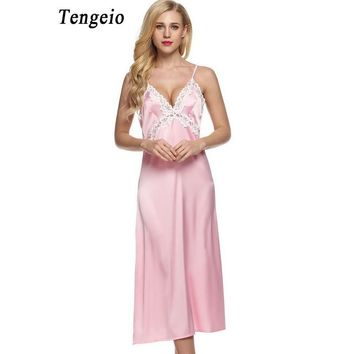 Tengeio Women Long Satin Nightgown Night Dress Lace Patchwork Trim Adjustable Strap Sexy Sleeping Dress Night Gown Camisones