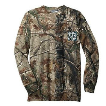 Monogrammed Camo Long Sleeve Shirt with Pocket