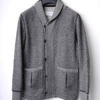 Wings + Horns Shawl Collar Charcoal Cardigan