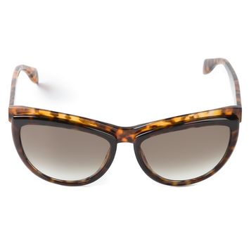 Alexander Mcqueen Two Tone Brow Detail Sunglasses