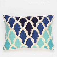 Magical Thinking Flourish Tile Pillow- Blue One