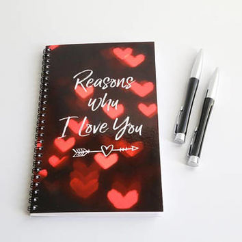 Valentines Notebook, Wife Gift, Heart Journal Husband Gift Boyfriend Gift Girlfriend Gift Engagement Gift Valentines Gift Valentine Journal