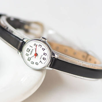 Micro watch for women quartz, vintage lady's watch Seagull, petite wristwatch gift, silver shade watch small, premium leather strap new