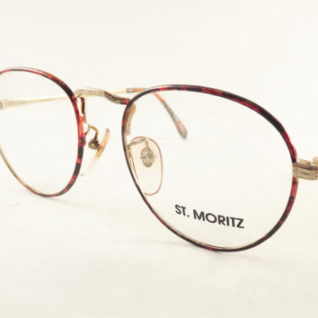 Round Tortoise Shell Eyeglasses in Gold Metal Frames, Vintage Womens Eyewear, New Old Stock