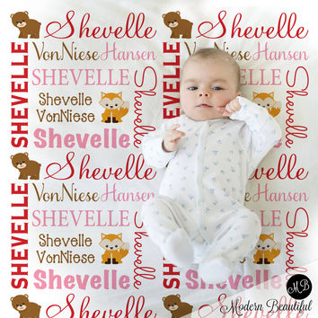 Woodland Animals Forest Animals Name Blanket, personalized baby gift, photo prop blanket, baby blanket, personalized blanket, choose colors