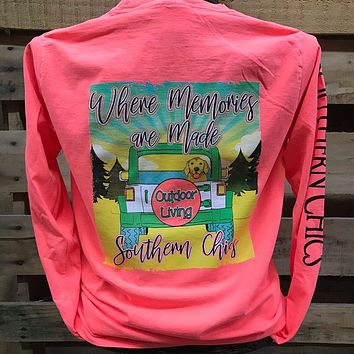 Southern Chics Outdoors Where Memories are Made Jeep Comfort Colors Long Sleeves Bright Unisex T Shirt