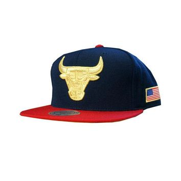 ONETOW Mitchell & Ness Chicago Bulls USA HI Crown Snapback In Navy/Red
