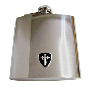 Black Medieval Shield 6 Oz. Stainless Steel Flask
