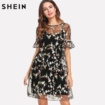SHEIN Summer Dresses Multicolor High Waist Short Sleeve Fit and Flare Ruffle Cuff Embroidered Mesh 2 In 1 A Line Dress