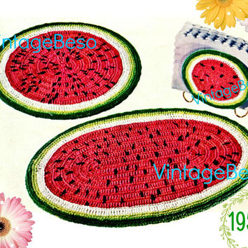 Watermelon Set • Watermelon Hot Plate Mats and Napkin Holder CROCHET Pattern • PdF • Vintage 1950s • Digital • Kitchen Gift for New Home Apt
