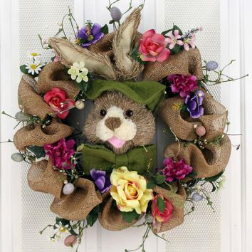 Bunny Rabbit and Burlap Decorative Door Wreath (24 inch)