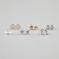 Full Tilt 6 Piece Anchor/Shell/Starfish Stud Earrings Metal One Size For Women 22865490101