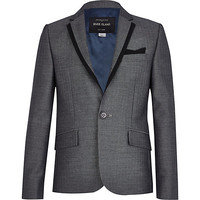 River Island Boys grey herringbone suit blazer