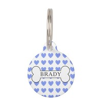 Personalized Watercolor Blue Heart Pattern Pet Tag