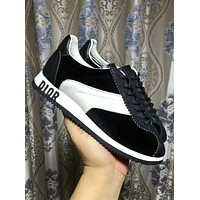 DIOR 2018 new black and white color matching sneakers casual fashion wild running shoes F-ALS-XZ Black