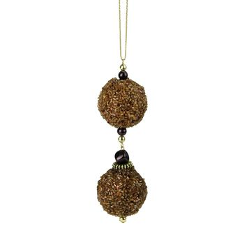 """Chocolate Shop Gold Balls Rolled in Glitter Christmas Ornament 5"""""""