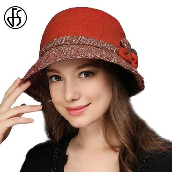 FS Women Vintage Wool Fedora Wide Brim Flower Winter Felt Bucket Hat 3 Colors Ladies Elegant Casual Church Cap Fedoras