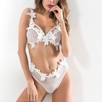 Split Sexy Leaf Lace Set [1331231031412]
