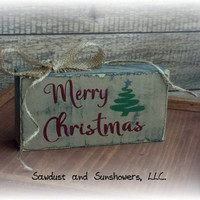 Christmas Sign/Shelf Sitter/Wooden Sign/Merry Christmas/Handmade/Hand Painted/Distressed/Home Decor/Christmas Decor