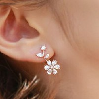 Flower on Branch Rhinestone Earrings - LilyFair Jewelry