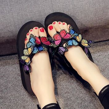 hot sell Butterfly model sandals female summer slope with casual non-slip sandals thick-bottomed flip-flops Sandalias de mujer