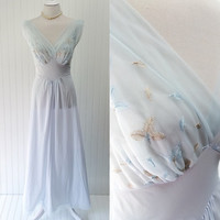 Helena nightgown // 1950s baby blue sheer nylon chiffon empire waist Vanity Fair peignor // gathered bust embroidered leaves // size S 34