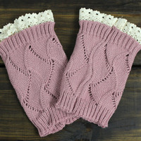 Womens Boot Cuffs, Knit Boot Cuffs, Lacey Boot Cuffs, Knitted Boot Toppers, Light Pink, Ivory, Grey, Boot Socks, Legwarmers