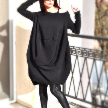 Plus Size Clothing / Loose Black Dress / Oversize Maternity Gown / Long Sleeves Evening Dresses / Hoody Wezr