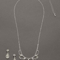 Scalloped Necklace with Pear Shaped Drop Earrings - David's Bridal