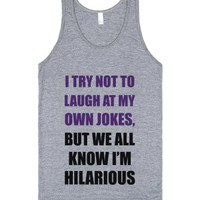 C - Own Jokes-Unisex Athletic Grey Tank