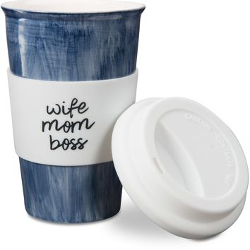 Wife Mom Boss Ceramic Travel Coffee Mug