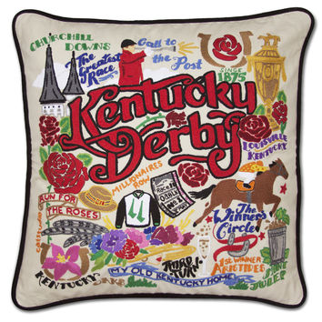 Kentucky Derby Hand Embroidered Pillow