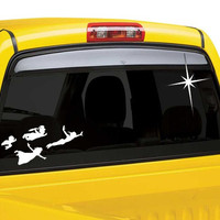 Peter Pan flying kids car window decal with star