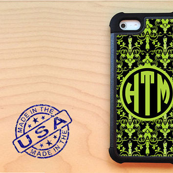 Green and black damask iPhone 5 case with extra protection - Monogram iPhone 5 hard case, 2 piece rubber liner case, personalized case