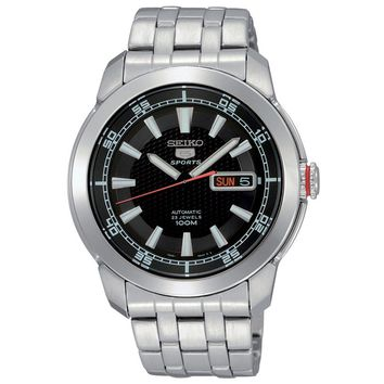 Seiko SNZH63 Men's 5 Sports Black Dial Stainless Steel Bracelet Automatic Watch