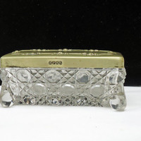 Vintage Rectangular Jewelry Box, Small Glass Footed Trinket Box, Pill Box with Silver Plated Lid, UK seller