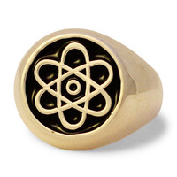 Atomic Symbol Ring in Bronze Atom Cloud - Custom Fitted Sizes