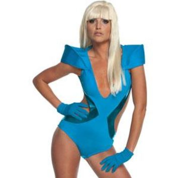 Lady Gaga Men's  Blue Swimsuit Costume Blue