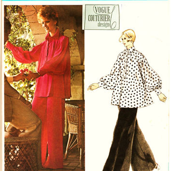 70's Vogue 2876 Couturier Design Pattern 2876 w LaBeL FABIANI Swing Style Tunic & Wide Palazzo Pants Sz 8 Uncut FF Couture Sewing Patterns