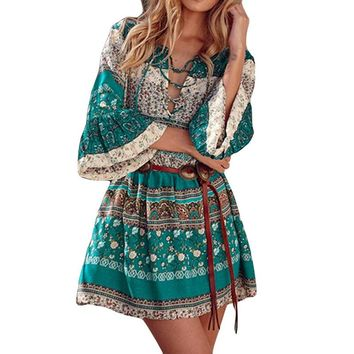 2018 Summer Ladies Bohemian Floral Beach Dresses Gothic Tunics 4XL 5XL Plus Size Half Sleeve Retro Vintage Midi Dress Robe Femme