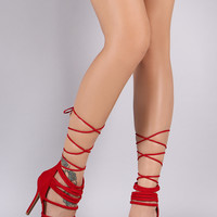 Shoe Republic LA Suede Strappy Lace Up Heel