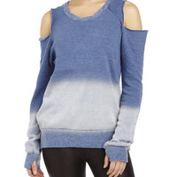 Blue Dip-Dye Cold Shoulder Sweatshirt