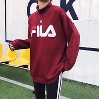 FILA HOT SALE Round neck letters printed loose long sleeve sweater