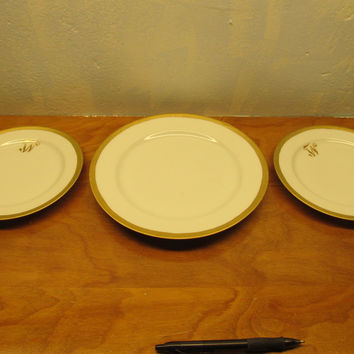 ROSENTHAL CHINA ONE (1) DINNER PLATE AND TWO (2) SALAD OR DESERT PLATES WITH GOLD TRIM