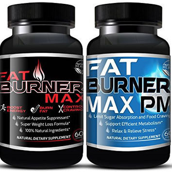 FAT BURNER MAX AM/PM BUNDLE FOR EXTREME WEIGHT LOSS THAT WORKS (120 CAPSULES) NATURAL FAT BURNING DIET PILLS FOR MEN & WOMEN