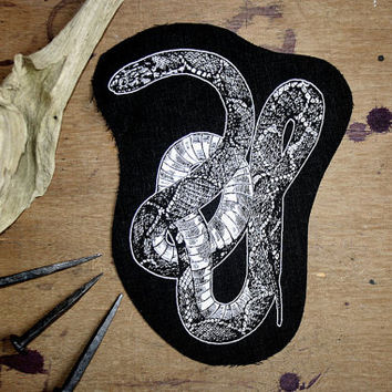 Snake patch -  slytherin patch, serpent sew on punk patch, cobra rock nu goth rock patch, animal occult patch, reptile screen print patch